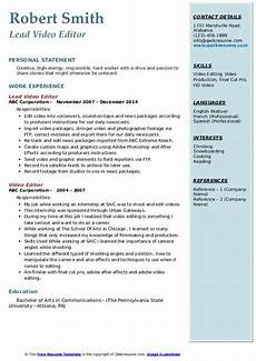 Video Editing Resume Video Editor Resume Samples Qwikresume