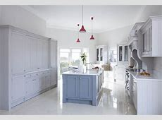 Bespoke, handpainted solid wood inframe kitchen, painted in grey & blue