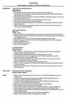 Sample Resume For Lab Assistant Lab Technician Resume Ipasphoto