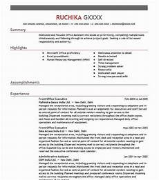 Front Office Executive Resumes Front Office Executive Resume Sample Executive Resumes