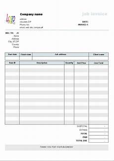 Invoie Template Job Service Invoice Template Uniform Invoice Software