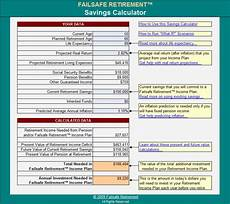 Pension Calculations Spreadsheet Demo Failsafe Retirement