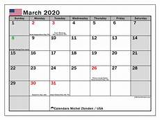 March 2020 Printable Calendar With Holidays March 2020 Calendar Usa Michel Zbinden En