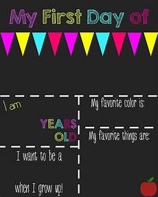 First Day Of Preschool Template First Day Of School Printable Chalkboard Sign First Day