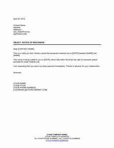 Rescind Letter Sample Notice Of Rescission Template Amp Sample Form Biztree Com