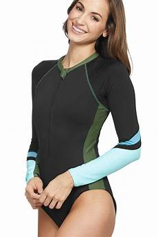 janey s sleeve zip front rash guard swimsuit