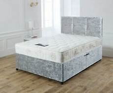 new crushed velvet divan bed set with memory mattress and