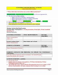Executive Brief Template Customer Partner Briefing Template For Executive Assistants
