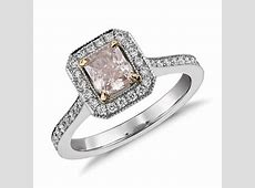 Radiant Cut Fancy Light Pink Diamond Halo Ring in Platinum