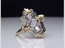 Antique 3 Stone Diamond 14k 2 Tone Gold Ring   Unique