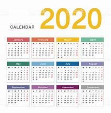 One Year Calendar 2020 Colorful Calendar Year 2020 Vector Design Template Simple