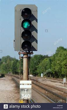 Train Light Signals Uk Railway Signal At Green In The Uk Stock Photo 9747479 Alamy
