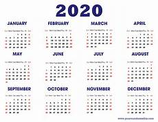 Year Calendar 2020 Printable Download 2020 Calendar Free Templates