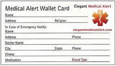 Medical Alert Cards Templates Free Medical Id Wallet Card