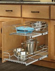 2 shelves kitchen sliding cabinet drawer basket organizer