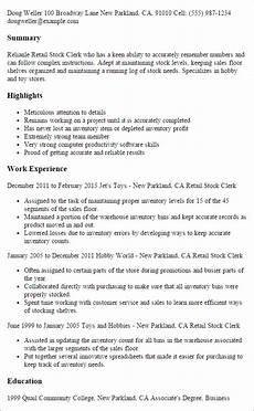 Retail Clerk Resume 1 Retail Stock Clerk Resume Templates Try Them Now