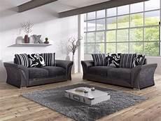 shannon black fabric 3 2 seater living room sofa set