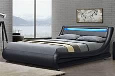 barcelona black faux leather led low modern bed frame
