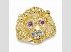Men's Lion Ring with Lab Created Ruby and Diamond Accents