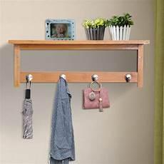 hooks for hanging coats homcom hallway wall mounted bamboo shelf clothes rack