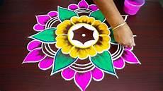 Color Kolam Designs With Dots Simple Colour Kolam Design With 7x4 Dots Beautiful Kolam