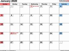 Calendar January 2020 January 2020 Calendar Templates For Word Excel And Pdf