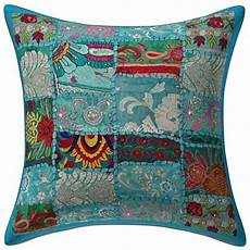 indian patchwork cotton cushion cover turquoise 16 quot floral