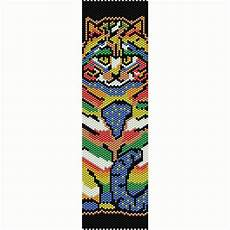 colorful cat 1 peyote bead pattern bracelet cuff bookmark
