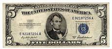 Silver Certificate Dollar Bill Value Chart 1953 A 5 Five Dollar Blue Seal Silver Certificate Note