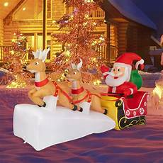 Santa Claus Reindeer Lights Kinbor 7ft Christmas Inflatable Santa Claus On Sleigh With