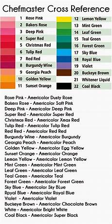 Food Coloring Chart Cookies And Color Food Color Cross Reference