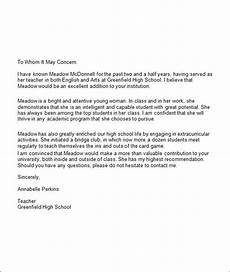 High School Student Recommendation Letter 5 College Recommendation Letters Sample Templates