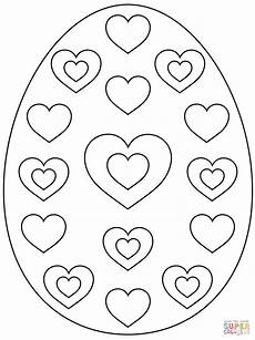 Coloring Eggs Easter Egg With Hearts Coloring Page Free Printable