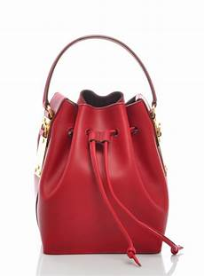 British Designer Bags Small Red Leather Bucket Bag By Hulme Bags