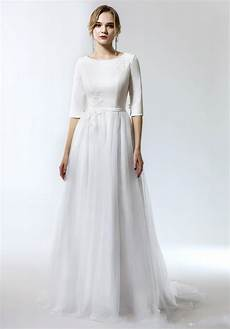 discount 2019 new simple a line modest wedding dress