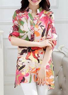 quarter sleeve shirts for split three quarter sleeve split neck printed shirt on sale only