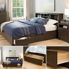 brown platform bed frame king size wood bedroom furniture