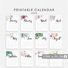 2020 Mini Calendar Printable 2020 Calendar Printable Desk Calendar 2020 2020 Wall Etsy