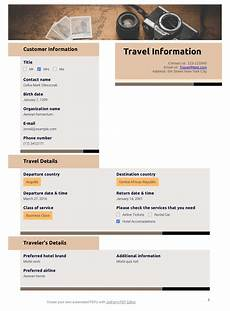 Travel Estimator Travel Information Template Pdf Templates Jotform