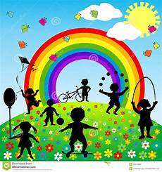 Children Playing Background Background With Children Silhouettes Playing Stock