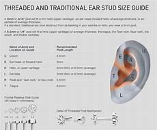 ear mm size chart 2mm princess cut diamond threaded stud conch jewelry
