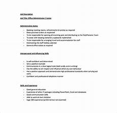 Medical Office Administration Duties Office Administrator Job Description Templates 10 Free