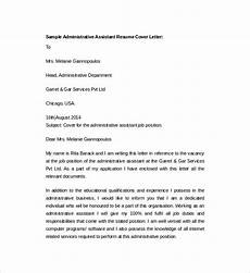 Resume Cover Letter Sample For Administrative Assistant Job Free 7 Sample Resume Cover Letter Templates In Pdf Ms Word