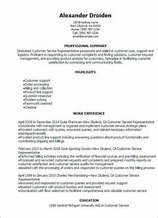 Resumes For Customer Service 1 Customer Service Representative Resume Templates Try