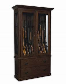 american mission wooden gun cabinet with drawers from