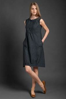 grey sleeveless dress from specially washed shrink
