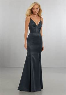 satin bridesmaids dress with plunging v neckline and