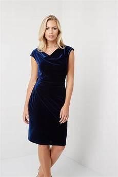 cowl neck velvet dress in midnight blue originals uk