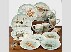 32 Pc Beach Cottage Dinnerware Set Handpainted Beach