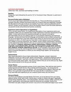 Writing A Personal Statement For A Cv Curriculum Vitae Personal Statement Samples Http Www